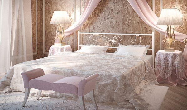 Кровать металлическая Хризантема - 1